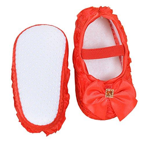 Happy Cherry Baby Schuhe Taufschuhe Babymädchen Schühchen mit Weichen Sohle für Fußlänge 9.3-11.2cm(0-9 Monate) Rot