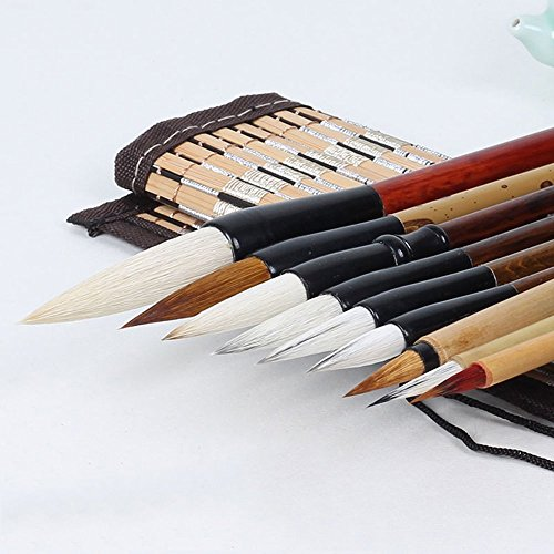 Corciosy Shanlian Hubi Writing Brush Watercolor Chinese Calligraphy Brush Set Kanji Japanese Sumi Painting Drawing Brushes 10 piece/set+Roll-up Bamboo Brush Holder -
