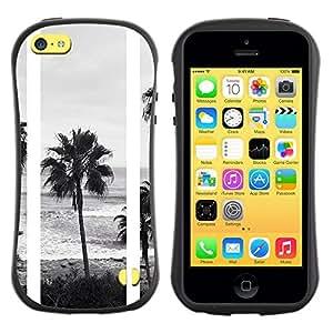 "Hypernova Slim Fit Dual Barniz Protector Caso Case Funda Para Apple iPhone 5C [Árboles Negro Playa Blanca fotos""]"