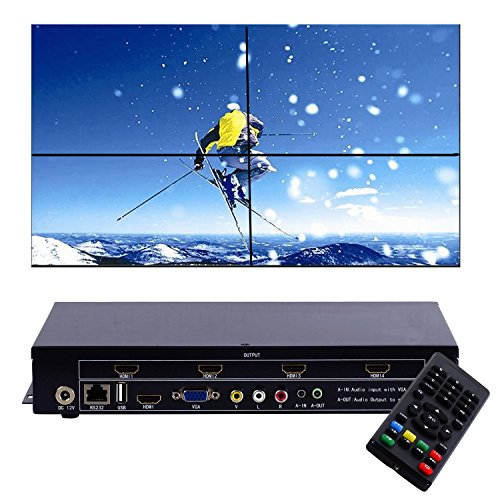 RIJER 2×2 Video Wall Controller USB+HDMI+VGA+AV TV HDMI With Fully-digital Processing Channel Inside 180 Degree Rotate