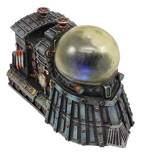 Ebros Vintage Design Ironstar Steampunk Locomotive Engine Train Statue with Multi Color LED Night Light 9.5