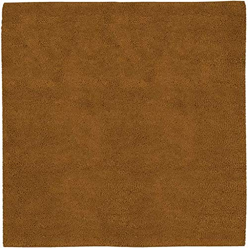 (Alplaus Shag Plush Solid 8' Square Square Shag 100% Wool - Felted Dark Brown Area Rug )