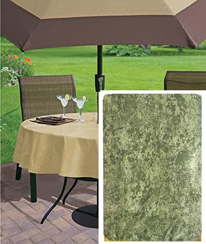 Sage Milano Marble Solid Color Print Heavy Gauge Vinyl Flannel Backed Tablecloth, Indoor/Outdoor Tablecloth for Picnic, Barbeque, Patio and Kitchen Dining, (70 Inch Zippered Umbrella Hole (Umbrella Plastic Cover)