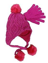 Berkshire Girls' 2-Pc. Heidi Hat & Gloves Set Hot Pink One Size