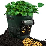 DOESIT 2-Pack 7 Gallon Potato Grow Bags /Garden Plant Bag/Vegetables Grow Bags with Access Flap