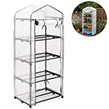 Christow 4 Tier 5ft Greenhouse, Mini Portable Compact Garden Growhouse, Sturdy Steel Frame, Double Zip Reinforced Cover