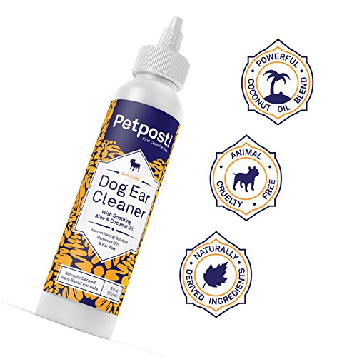 Petpost   Dog Ear Cleaner - Natural Coconut Oil Solution - Best Remedy for  Odor Dog Ear Mites, Yeast and Ear Infection Causing Wax - Alcohol &
