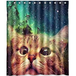 Cat Shower Curtain Star Galaxy Outer Space Cool Waterproof Fabric Polyester Bathroom 60