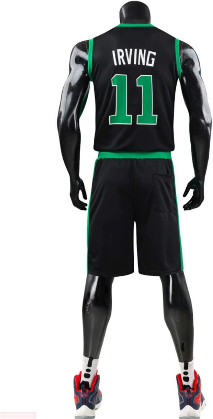 CJM Camicia da Basket Traspirante Quick Dry di Boston Celtics//Kyrie Irving No.11 Verde//Nera