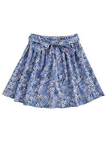 SheIn Women's Summer Floral Print Self Belted A Line Flared Skater Short Skirt Blue