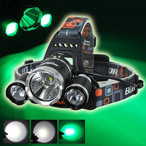 Boruit 3Pcs Led Bulbs Cree T6+2R5 Headlamp 3000LM Rechargeable White+Green Lighting Hunting Fishing Night Light Headlight 2Pcs 18650+Charger ...