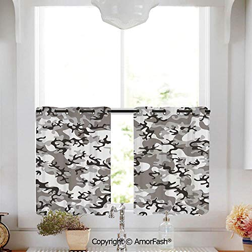 (Camo Curtain Shade Curtains Ultra Soft Kids Room Curtains with Grommets,1 Pair,W52 x L36-Inch,Battledress Concept Concealment Artifice Hiding Force Uniform Pattern Fashion)