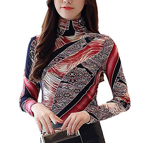(SansoiSan Women's Fashion Long Sleeve Slim Vintage Turtleneck Print T-Shirts Blouse Tops Plus Size (Red, L))