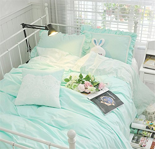 Lotus Karen Lovely 100%Cotton Solid Color Mint Green 4PC Girls Bedding Full Ruffles Korean Bed Sheet Set With Embroidery Lace Vase Flower NO - Lace Vases