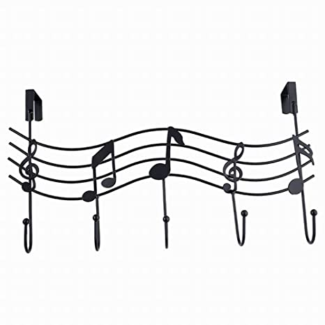 Alivier - Perchero de Hierro Forjado para Puerta de Instrumento Musical detrás del Gancho, sin Nariz, Negro, 42CM*28CM