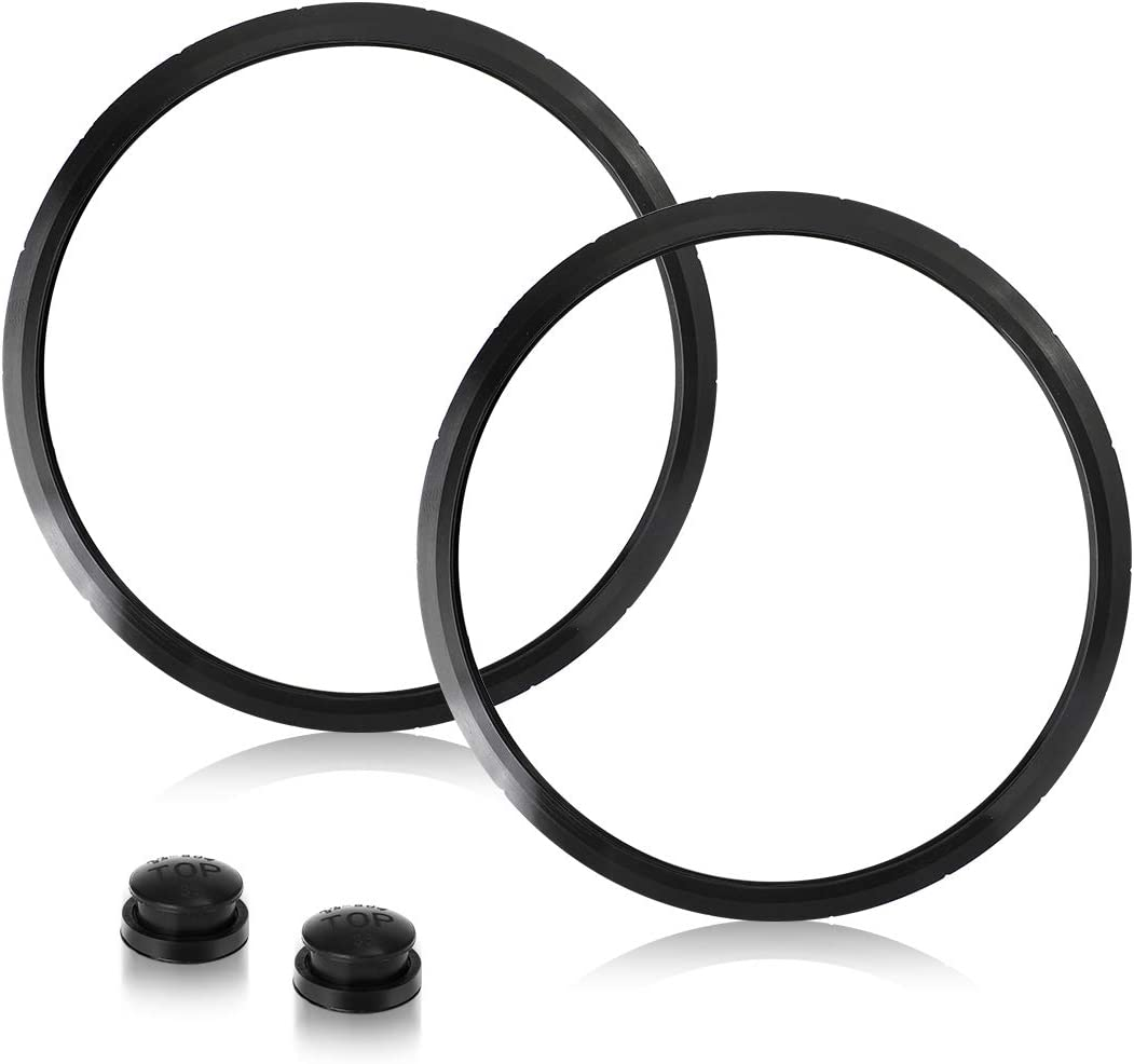 AIEVE 2 Pack Pressure Cooker Sealing Ring Silicone Gasket with Overpressure Plug Compatible with Presto Models Various 6-Quart 09936 Pressure Canner Pressure Cooker Replacement Parts, Black