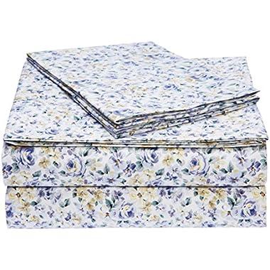 AmazonBasics Microfiber Sheet Set - King, Blue Floral