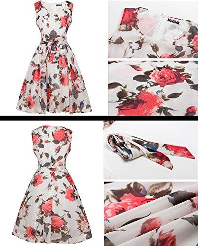 Minetom Mujeres Retro 1950s Mini Moda Dress Cuello Redondo Vestido Sin Mangas Chaleco Flores Impresas Vestido De Noche Coctel Blanco-Rojo