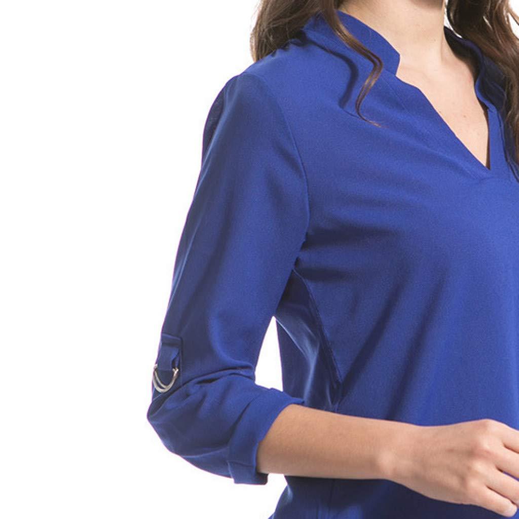 Keliay Cute Womens Tops Summer,Women Fashion S-6XL Long Sleeve Chiffon Shirt Tops V-Neck Casual Blouse Blue by Keliay (Image #8)