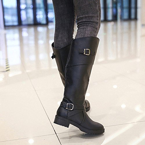 Femmes Bottes, Hatop Femmes En Cuir Chevalier Boucle Dames Bottes Faux Plat Martin Chaussures Noir