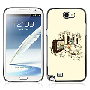 CaseCaptain Carcasa Funda Case - Samsung Galaxy Note 2 II / Funny Duck Video GameIllustration /