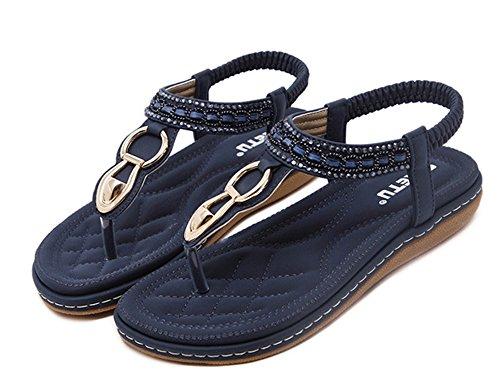 Plat avec Sandales Bleu Bohême Post Thong Clip Femmes Sandales Strass Chaussures Talon Pantoufles sur tqUX4Zw