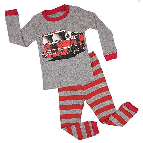 Kedofe Boys Pajamas Sets 100% Cotton Long Sleeve Kid PJS Toddler Sleepwears (Fire Truck, (Unique Kids Pajamas)