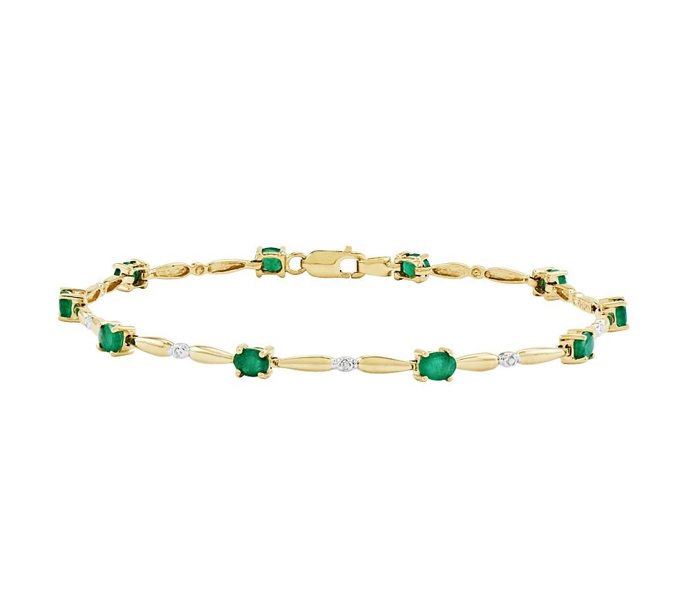 Silvernshine Jewels 2.20 Ct Oval Emerald w/ CZ Diamond Accent Tennis Bracelet, 14K Yellow Gold Plated by Silvernshine Jewels