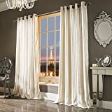 Iliana Kylie Minogue Luxury Velvet Ring Top Curtains Pair - 66x54 (168x137cm) Oyster by Kylie Minogue