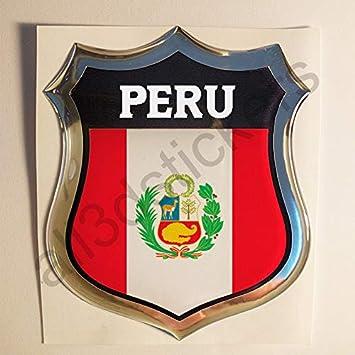 All3dstickers Pegatina Peru Relieve 3D Escudo Bandera Peru Resina Adhesivo Vinilo: Amazon.es: Coche y moto