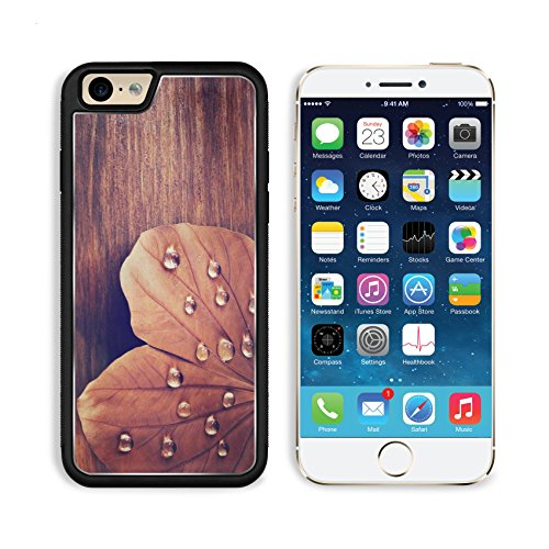 Liili Premium Apple iPhone 6 iPhone 6S Aluminum Backplate Bumper Snap Case iPhone6 IMAGE ID 32394373 low key image of Dry leaf with dewdrops on wooden background selective focus filtered image