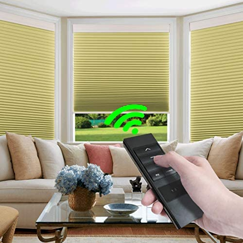 Keego Custom Motorized Blinds Smart Window Cellular Shades Remote Control 100 Blackout Cordless Automated Honeycomb Blinds Indoor for Smart Home Office Living Room, Beige, 60 W X 72 H