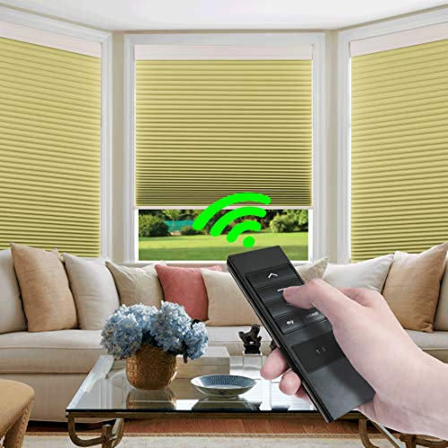 Keego Custom Motorized Blinds Smart Window Cellular Shades Remote Control 100% Blackout Cordless Automated Honeycomb Blinds Indoor for Smart Home Office Living Room, Beige, 46″ W X 72″ H