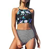 [Sponsored]Women's Leaves Printing High-Waisted Halter Swimwear Beach Bikini