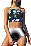 Seaselfie Women's Stripes High-Waisted Halter Tankini Beach Bikini Large