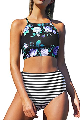 Seaselfie Women's Stripes High-Waisted Halter Tankini Beach Bikini X-Large