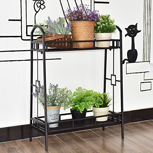 Metal Flower Pot Rack Plant Display Stand Shelf Holder Decor 2 - Face Or Oblong Oval