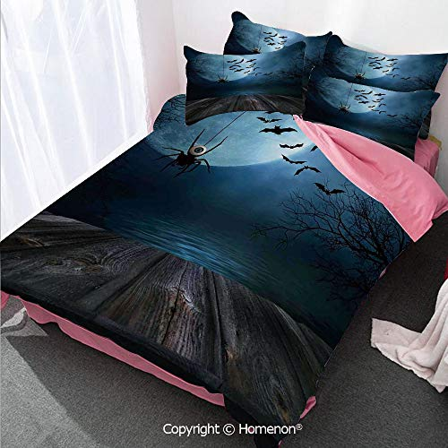Halloween Decorations Girl's Room Cover Set Queen Size,Misty Lake Scene Rusty Wooden Deck Spider Eyeball and Bats M,Decorative 3 Piece Bedding Set with 2 Pillow Shams Blue -