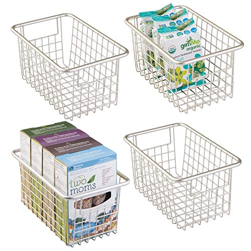 mDesign Household Wire Metal Storage Organizer Bin Holder Basket with Handles for Kitchen Cabinets, Food Pantry, Freezer Closets, Bedrooms, Bathrooms Garage Laundry - Deep, Pack of 4, Satin