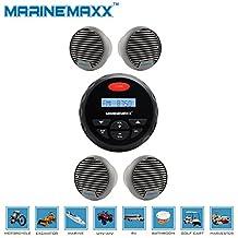 """Waterproof Marine Radio FM AM MP3 Gauge Stereo Bluetooth Music for BOAT ATV SPA+ 2Pairs 3"""" Waterproof Speakers"""