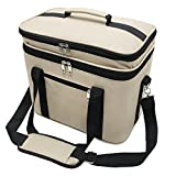 insulated lunch tote zippered - Fanmaous Lunch Box Insulated Lunch Bag Large Cooler Tote Bag Drinks Bottle Box Thermal Lunch Bags for Adult Men Women Car Picnic Camping Family ,Double Deck Cooler(18L/Khaki)