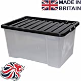 CrazyGadget50L 50 Litre Large Big Plastic Storage Clear Box Strong Stackable Container - Made In U.K. (1)
