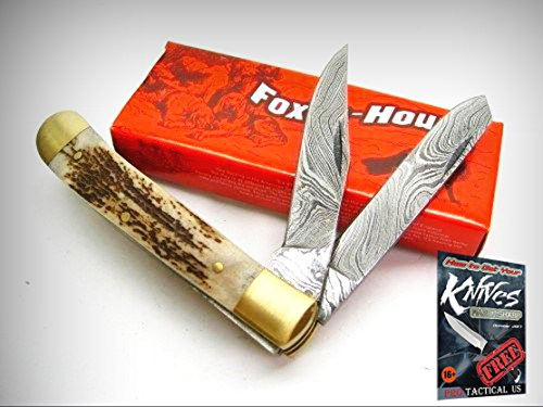 FOX-N-HOUND 614 Stag Handle DAMASCUS TRAPPER 2 Blade Folding Pocket Knife! FH614 + free eBook by ProTactical'US -