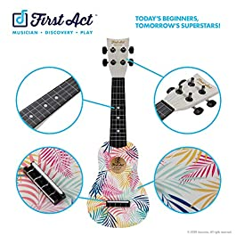 First Act Toy Ukulele, 20 Inch – Colorful Leaves Design Soundboard – with Nylon Strings – Guitar-Style Tuning Gears…