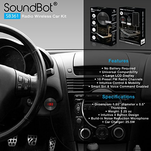 SoundBot SB361 FM RADIO Wireless Transmitter Receiver Adapter Universal Car Kit Music Streaming & Hands-Free Talking Dongle 3 Port USB Car Charger Bundle + Magnetic Mount by Soundbot (Image #3)