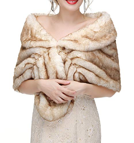 Decahome Faux Fur Shawl Wrap Stole Shrug Winter Bridal Wedding Cover Up Brown Rabbit Hair