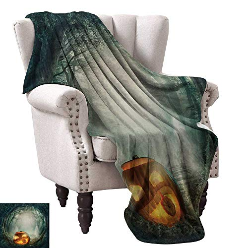 Anyangeight Digital Printing Blanket,Drawing of Scary Halloween Pumpkin Enchanted Forest Mystic Twilight Party Art 60
