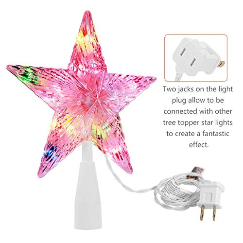 YUNLIGHTS Christmas Tree Toppers, Xmas Lighted Star Tree Topper Colorful Christmas Tree Decorations Ornament for Indoor Home Festival Decor