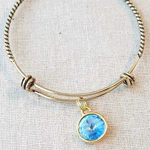 - Antique Gold MARCH AQUAMARINE Birth Month Charm Bangle Bracelet, Gift for Daughter Sister Girlfriend Bridesmaid, Birthstone Bridesmaid Jewelry Gift, March Birthday Birthstone Gifts Under 20