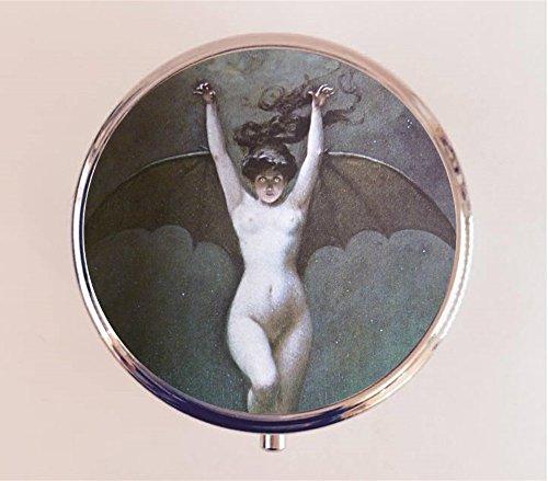 Penot Bat Lady Pill Box Pillbox Case Holder Goth Macabre Victorian - Goth Edwardian